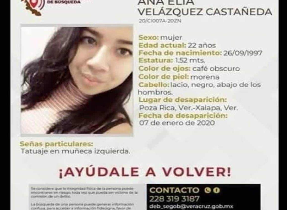 Ana Elia, desapareció hace dos días en Poza Rica