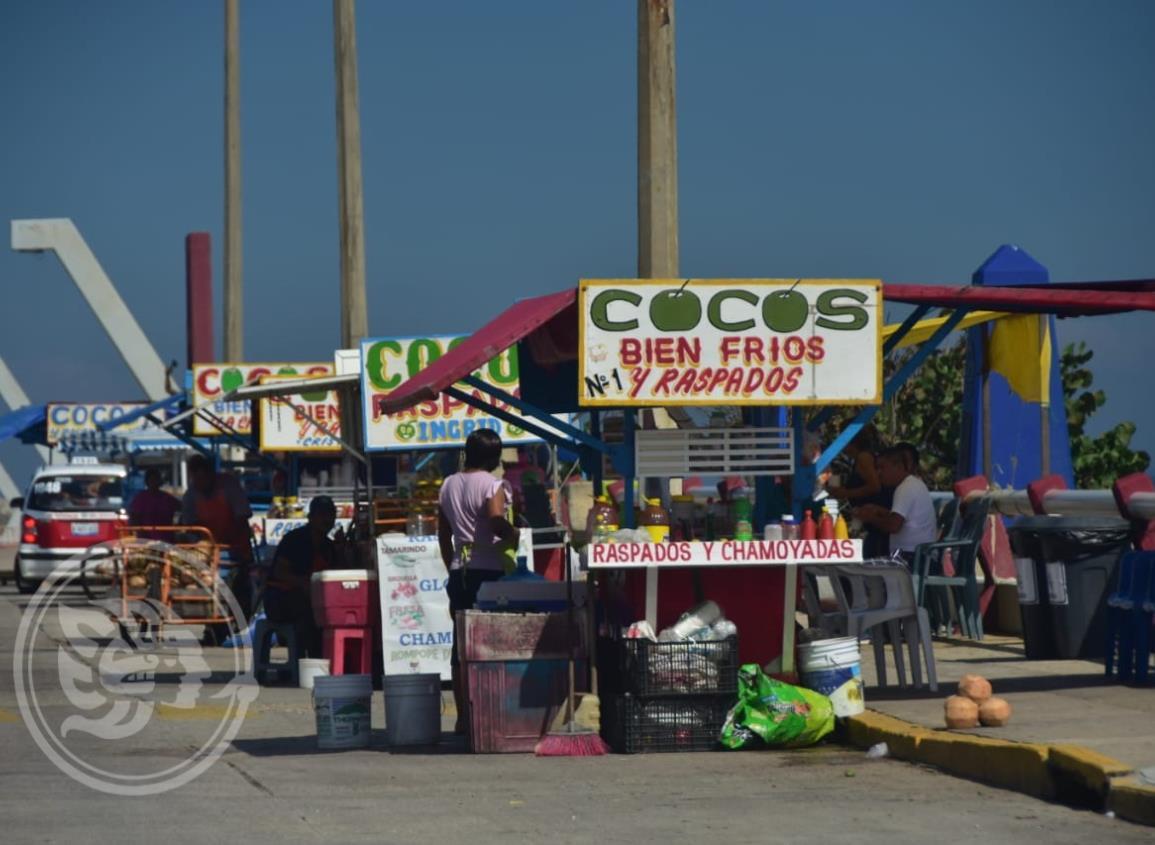 En Coatzacoalcos, vendedores de cocos restablecen sus ventas