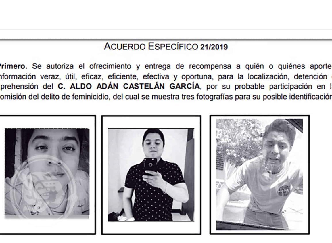 Ofrece FGE 250 mil pesos para hallar a presunto feminicida