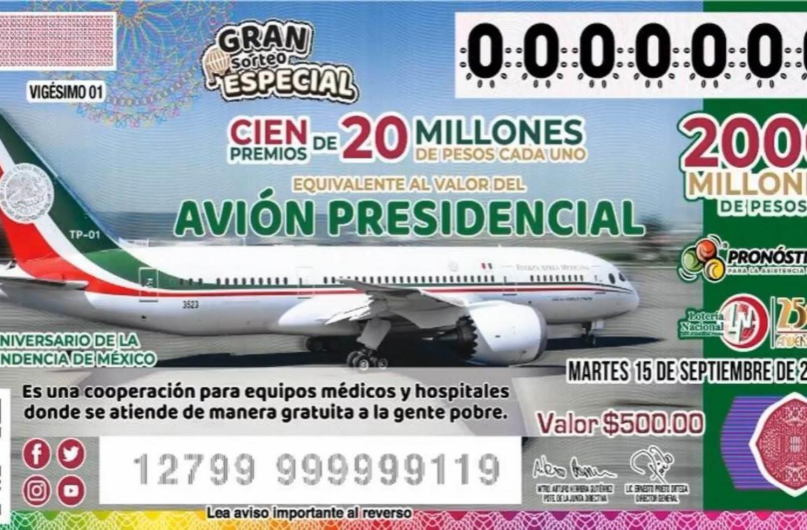 Avión presidencial se rifará el 15 de septiembre