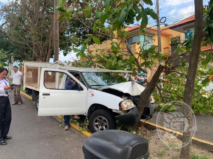 Camioneta se impacta con árbol; deja solo daños materiales