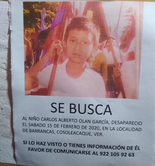 Desaparece niño Carlos Alberto en Cosoleacaque