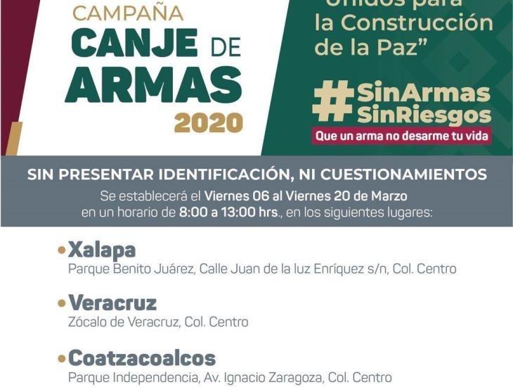 Ofrecerán hasta 15 mil pesos por arma en campaña de canje en Veracruz