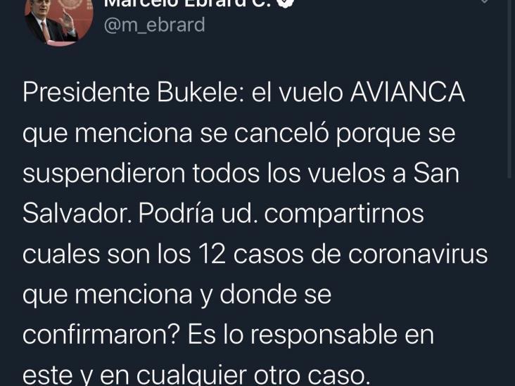 Bukele acusa a México de mandar avión con casos de coronavirus