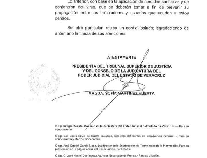 Poder Judicial de Veracruz detiene labores a partir de este 18 de marzo