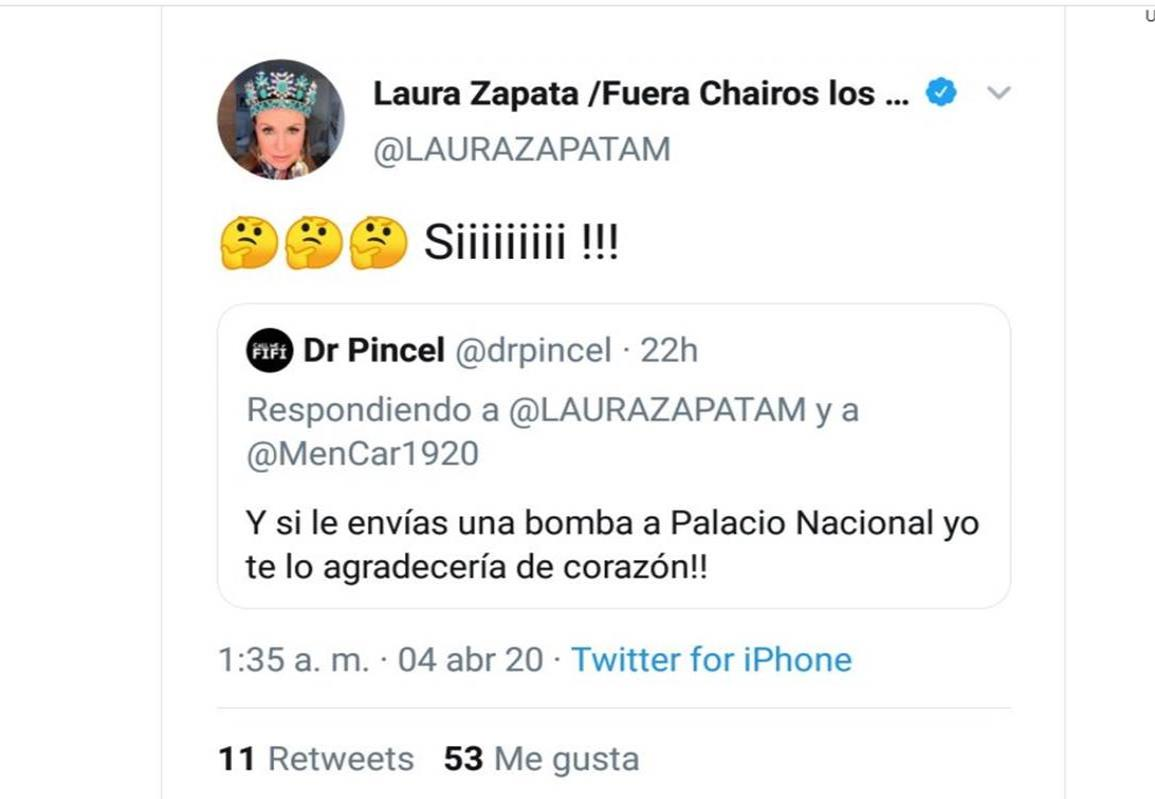 Laura Zapata promueve atentado a Palacio Nacional en Twitter