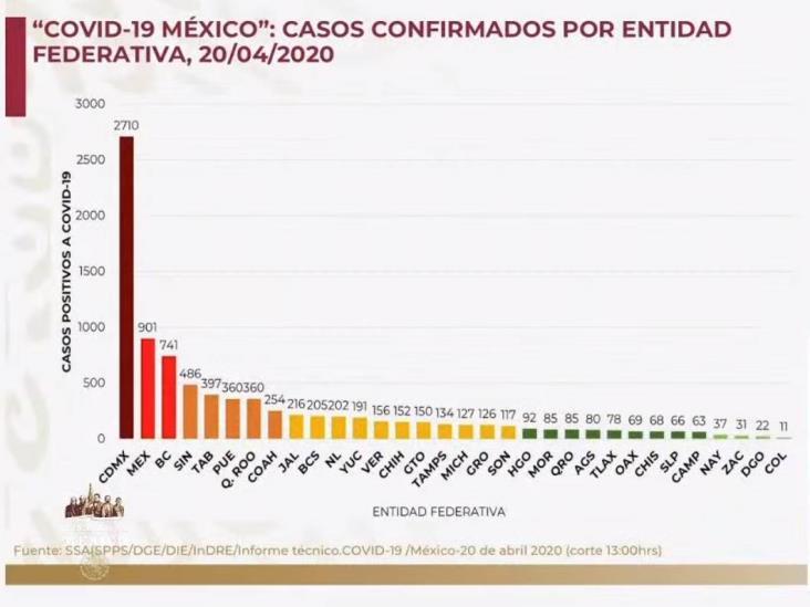COVID-19: 8,772 casos en México y 712 defunciones; 156 en Veracruz