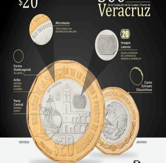 BdeM pone en circulación nueva moneda de $20