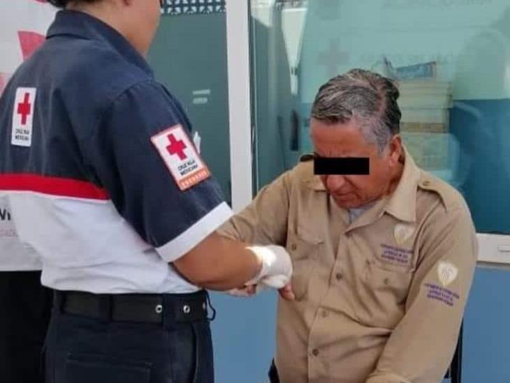 Golpean y agreden a vigilante de la Cruz Roja Veracruz
