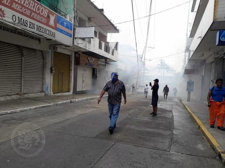 Continúan limpieza en centro de Minatitlán
