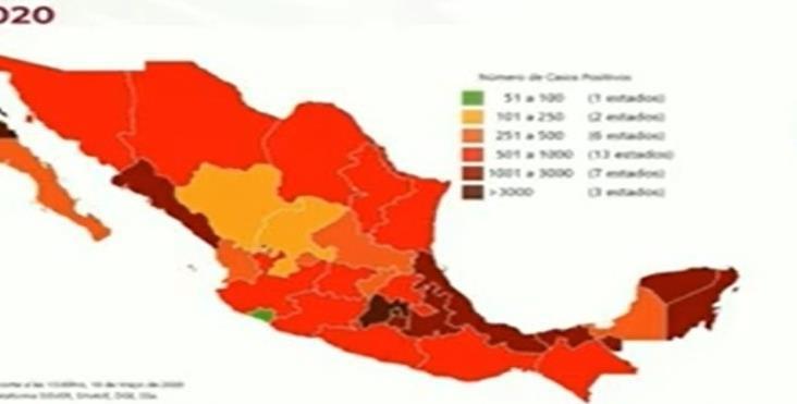 COVID-19 en México: 5 mil 332 muertos y 51 mil 633 casos confirmados