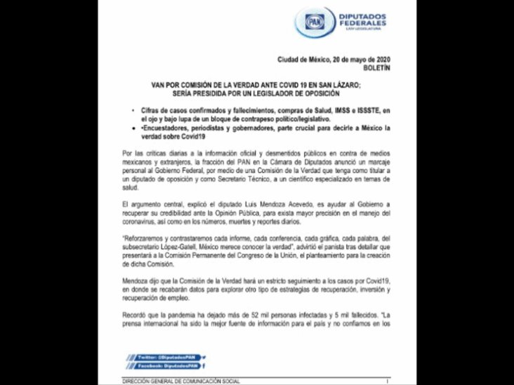 PAN propone Comisión de la Verdad para actuación de gobierno por Covid-19