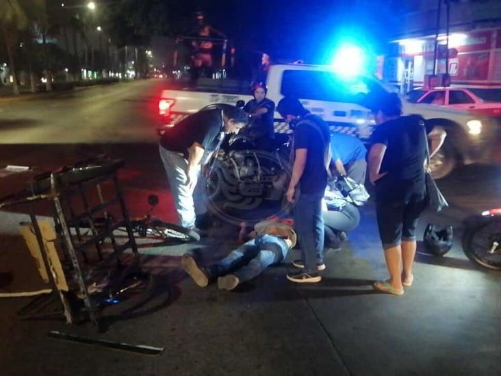 Joven resulta lesionado tras ser atropellado en calles de Veracruz