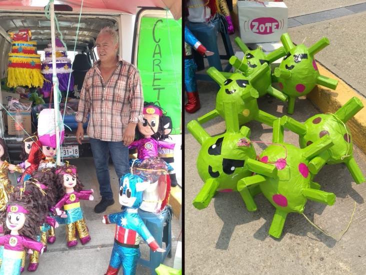 Venden piñatas de Susana Distancia, Covid-19 y  Jabón Zote