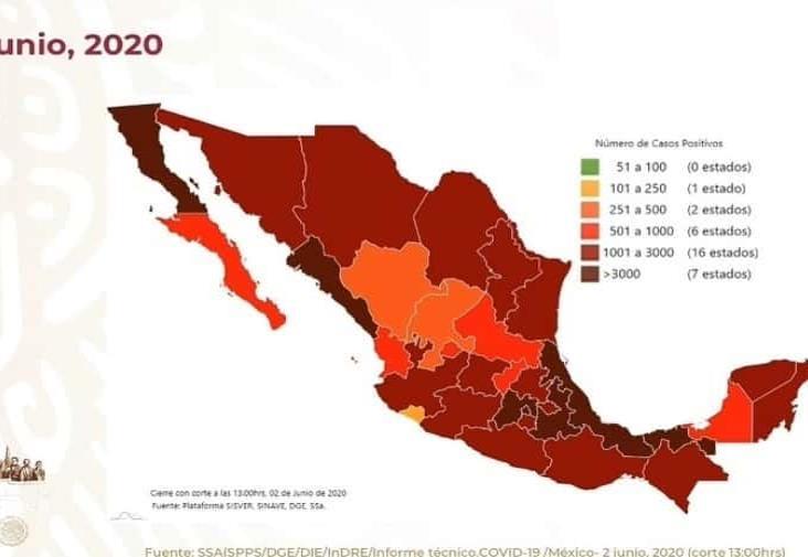COVID-19 en México:  97 mil 326 casos y 10 mil 637 muertos