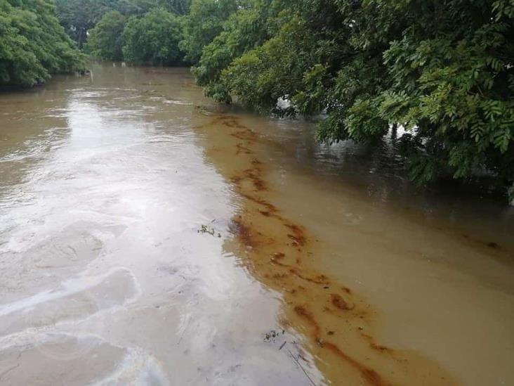 Fuga de crudo  contamina arroyo; Pemex sin iniciar reparación