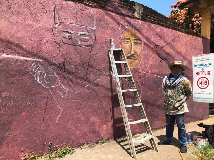 Pintan mural para transmitir esperanza y paz en Cosoleacaque