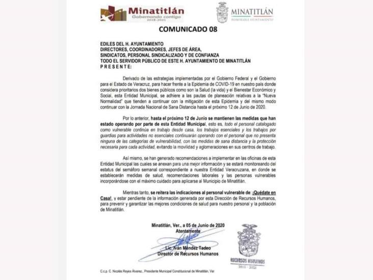 Minatitlán niega obligar a presentarse a empleados con síntomas de Covid-19