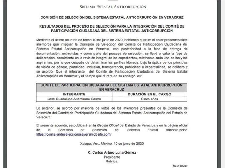 José Guadalupe Altamirano, nuevo integrante del Sistema Estatal Anticorrupción