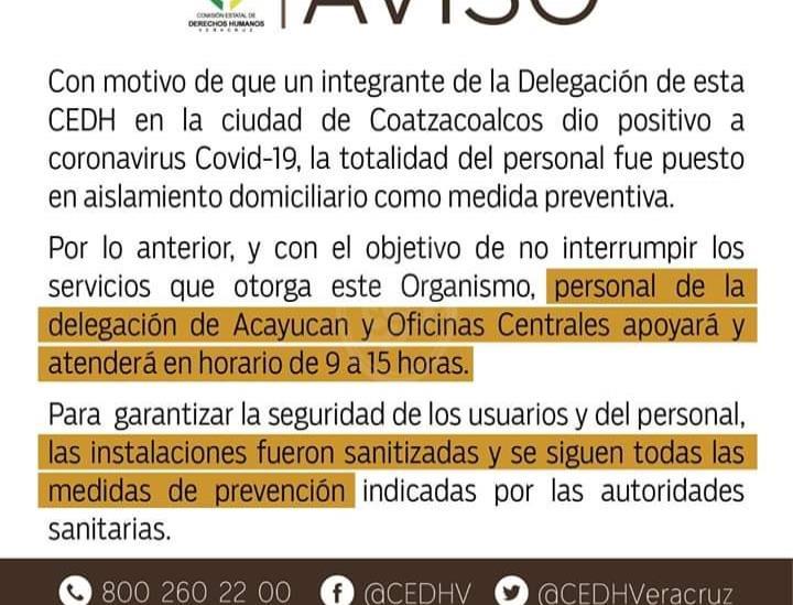 Funcionario de CEDH Coatzacoalcos da positivo a Covid-19; aíslan a empleados