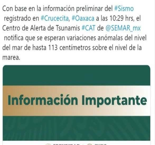 Semar pide tomar precauciones en zonas costeras