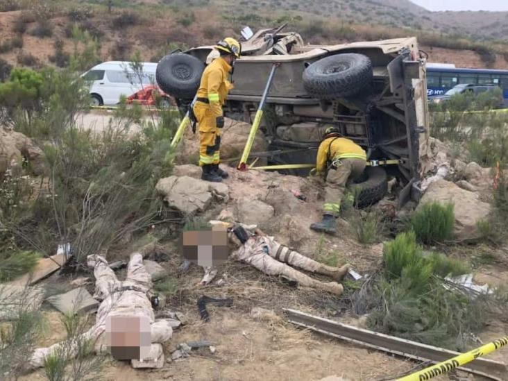 Fallecen seis militares tras volcadura rumbo a Tijuana