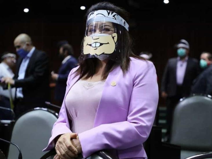 Diputada federal de Veracruz porta careta de protección con sonrisa de AMLO