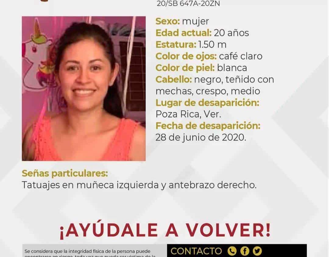 Desaparece otra joven en Poza Rica, claman ayuda para localizarla