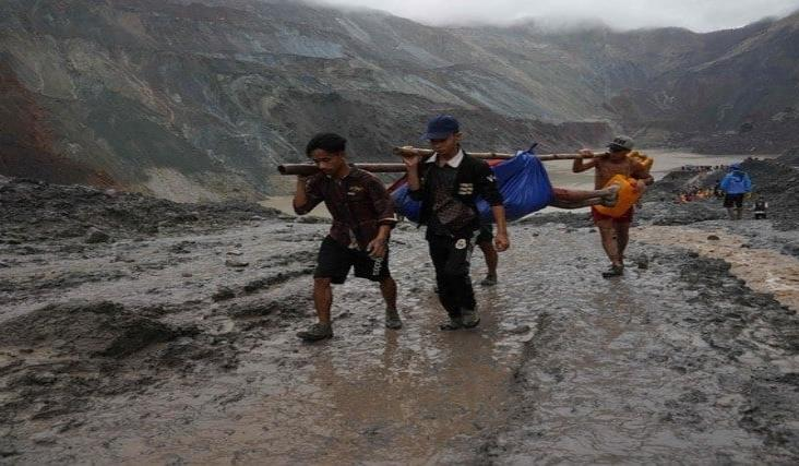 Más de 160 mineros mueren sepultados por lodo en Myanmar