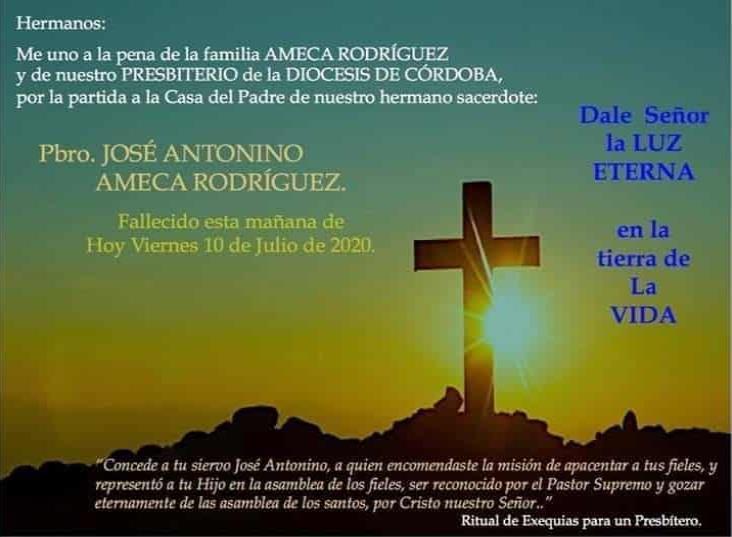 Muere sacerdote en Córdoba con síntomas de COVID-19
