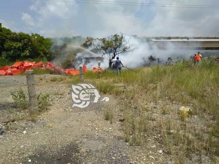 Se incendia área verde en Las Choapas tras caerse cables de alta tensión