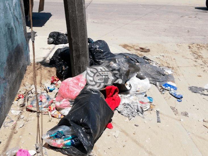 Se acumulan desechos en calles de Coatza tras cierre del basurero municipal