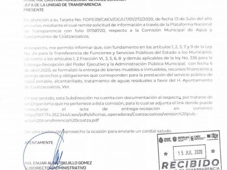 Se deslinda CAEV de información de las CMAS Coatzacoalcos