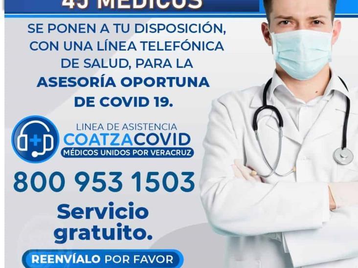 Línea CoatzaCovid es atendida por 45 médicos veracruzanos