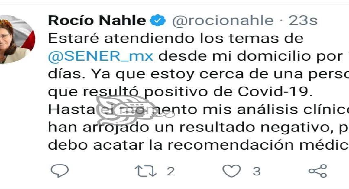 Rocío Nahle en aislamiento, por cercanía a persona con Coronavirus