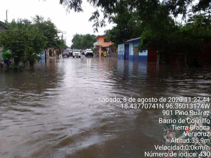 Afectaciones en Tierra Blanca y otros municipios por lluvias, reporta SPC