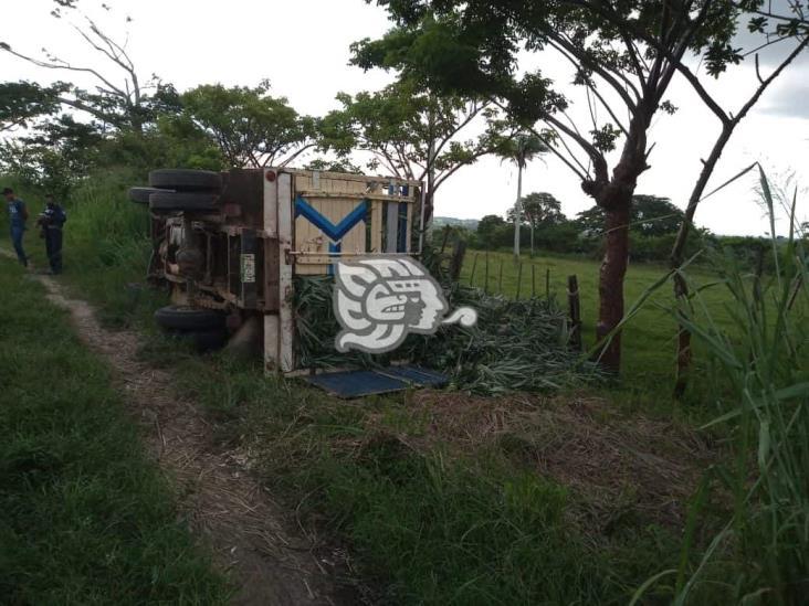 Vuelca camioneta carga de piña en Sayula; conductor herido