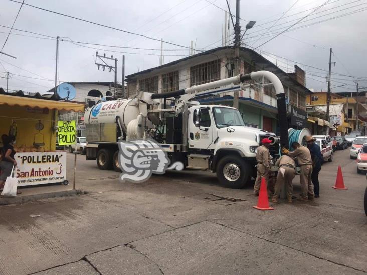 Caev Acayucan desazolva líneas de drenaje  para evitar inundaciones