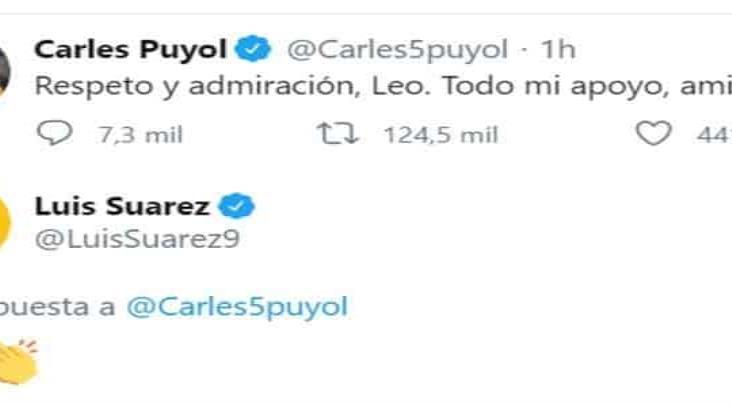 Carlos Puyol y Luis Suárez muestran su apoyo a Messi