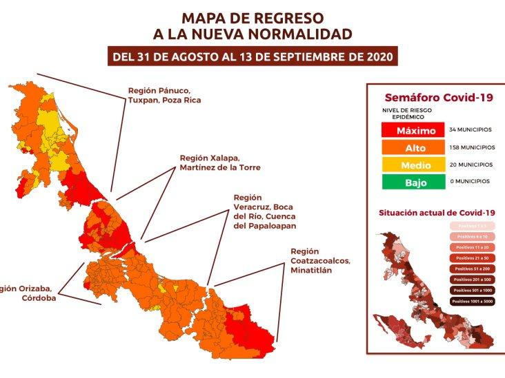 Aún con riesgo alto por COVID-19, 158 municipios de Veracruz
