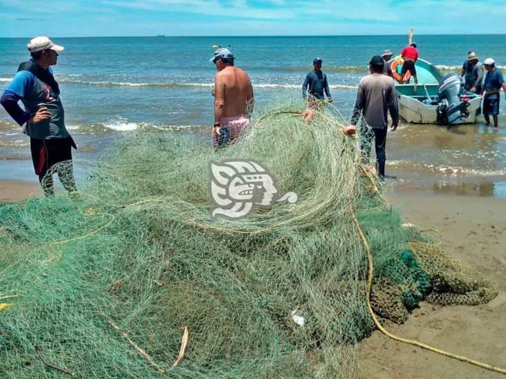 Pescadores logran módica captura de peces en playa de la ciudad