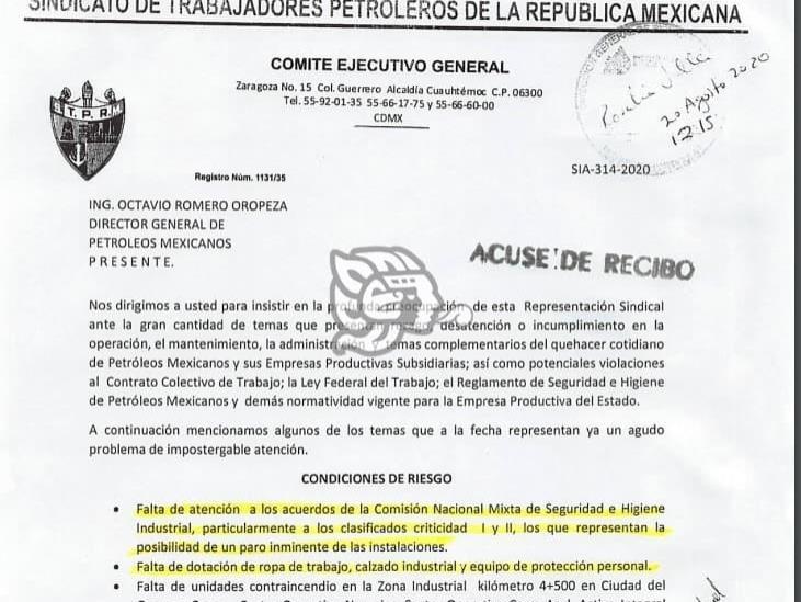 STPRM amaga a Pemex con paro si no resuelve rezago y carencias