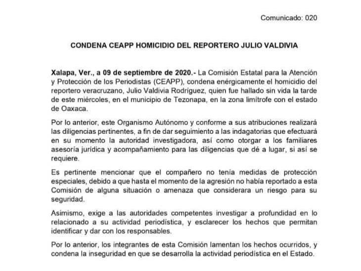 CEAPP condena el homicidio del reportero veracruzano Julio Valdivia