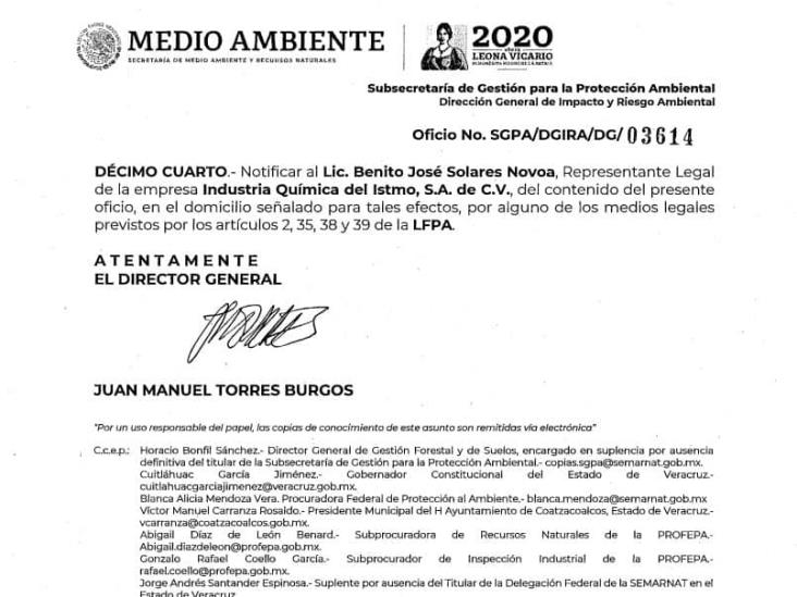 Autoriza Semarnat ampliación a planta de Cloro-Sosa de Iquisa