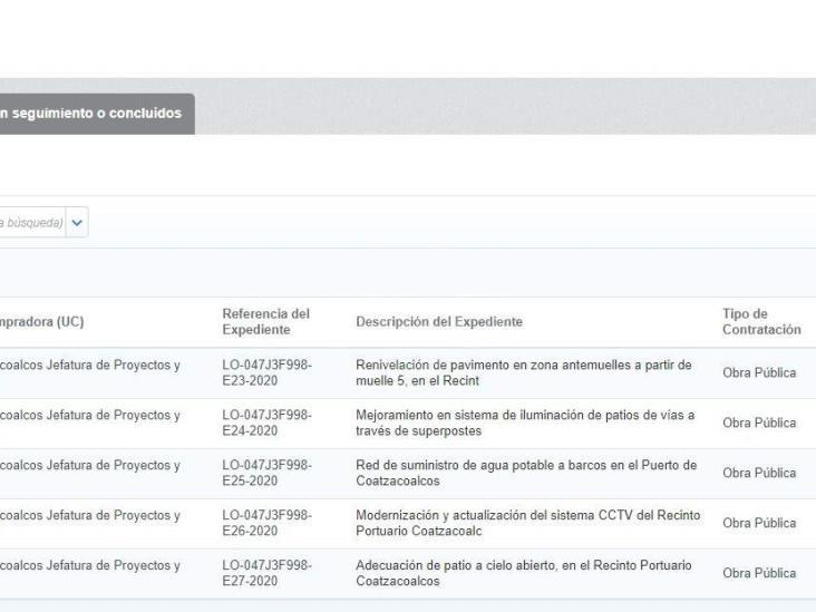 Publica API Coatzacoalcos paquete de licitaciones