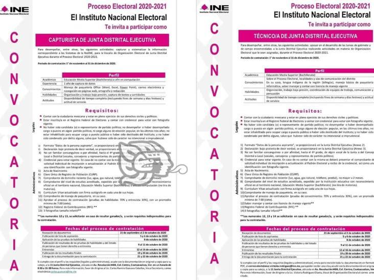 Junta Distrital 11 del INE abrió bolsa de trabajo para procesos electorales 2020-2021