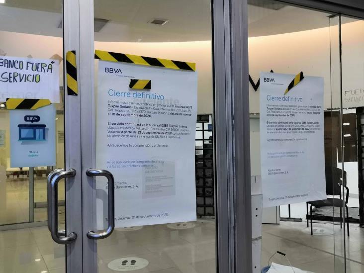 Cierran sucursales bancarias por crisis en Tuxpan