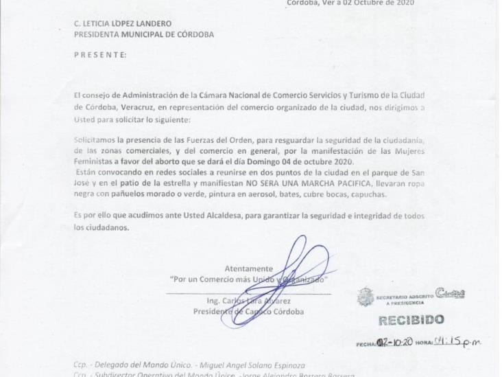 Canaco Córdoba pide vigilancia policíaca ante marcha feminista